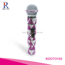 Best sales high quality shining rhinestone mini crystal studded handheld microphone