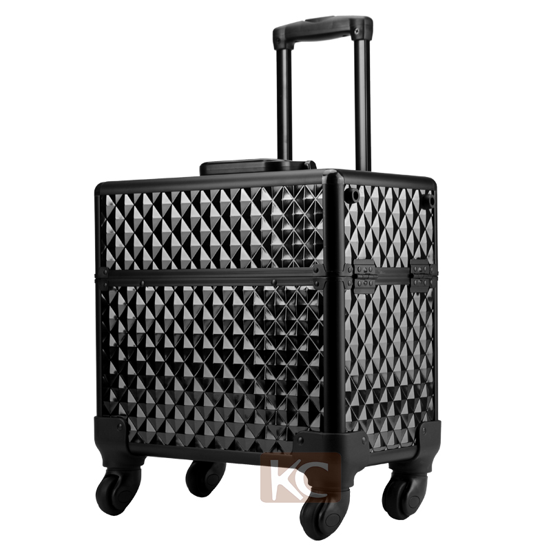Professional hair organizer for barbers hairdressing tool bags on wheels, luggages for hairdresser, aluminium hairdressing bag