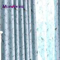 birds printing design sheer curtain and blackout curtain