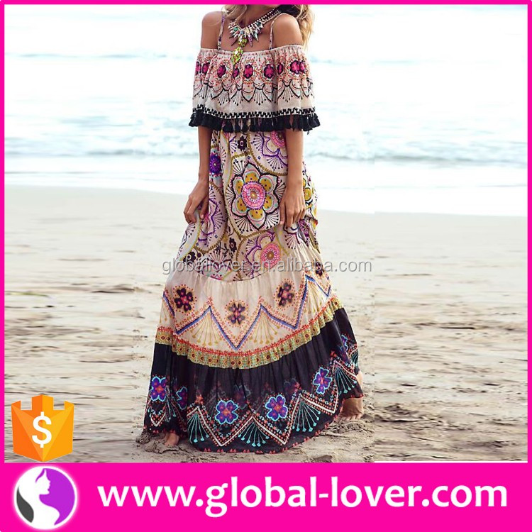 Bulk designer ladies boho printed off shoulder Maxi dresses panama clothing