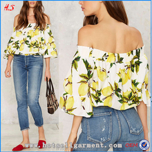 2018 Hot new product for women fashion off the shoulder crop top with lemon tree print throughout