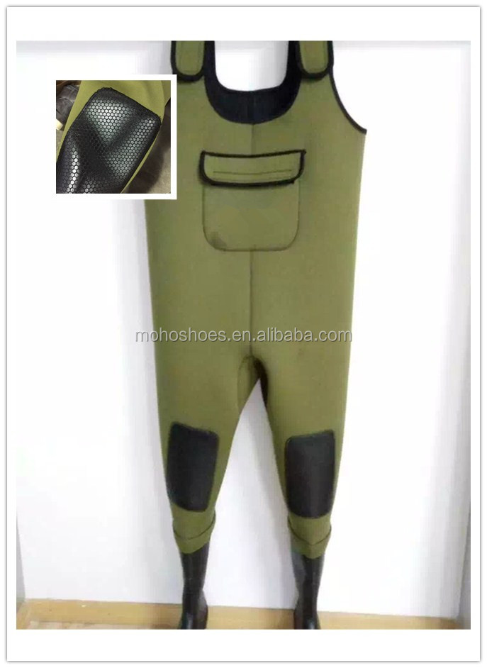 Best choice green camo fly fishing warm Neoprene chest Wader suit pvc boots