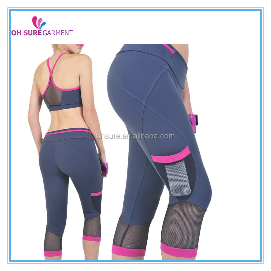 86% supplex 14% spandex womens sprots wear with phone pocket,gym pants for lady