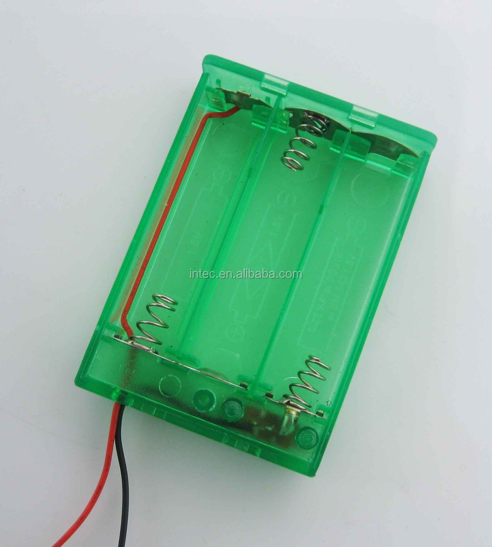 3AA Green battery holder with wire leads, with switch and cover-Green Color