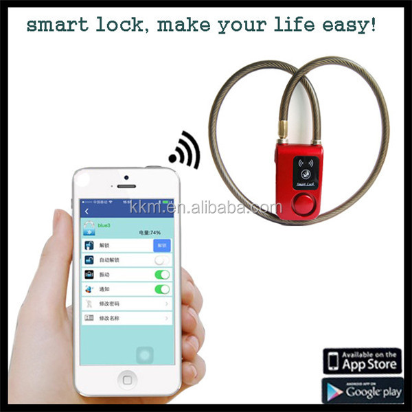 Water Resistant Wireless Smart Bluetooth4.0 Lock Protect House/Bicycle/Motorcycle from Theft with 110dB Alarm