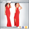 deep v neckline fashion red dress crisscross back maxi dress with side split