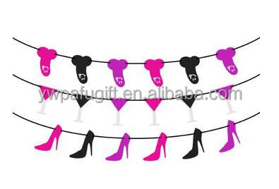 Hen party garland High-heeled Shoes &wine glass&penis Bachelorette Party Decorations and Supplies