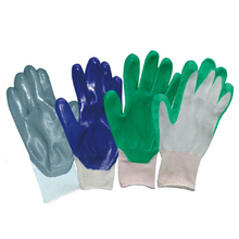 Nylon liner knitted wrist cheap safety nitrile gloves