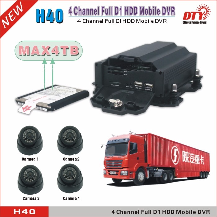 4 ch hdd sd card 12 volt dvr 3g gps vehicle dvr for car surveillance , H40-3GW