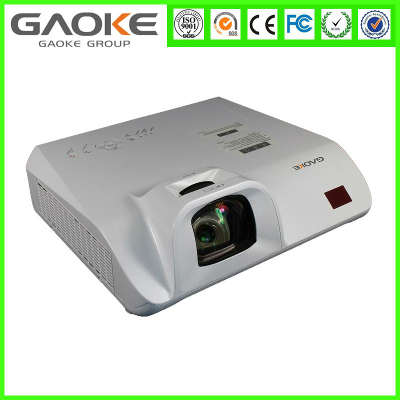 Gaoke GK635XS LCD XGA 1m 81inch office education 3000lumens Short Throw video low cost projector from china