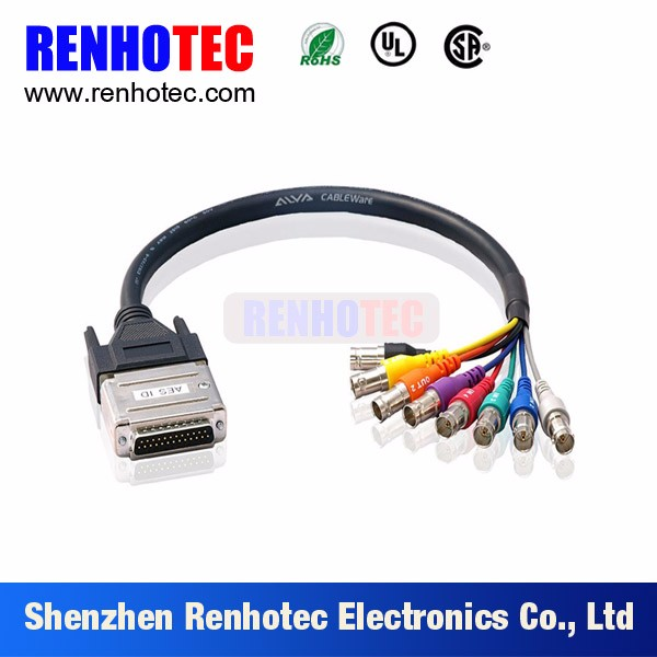 cctv system breakout cable VGA female db25 to bnc cable