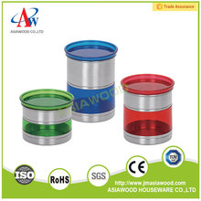 Colorful Kitchen plastic round canister sets coffee sugar tea storage jars canisters set