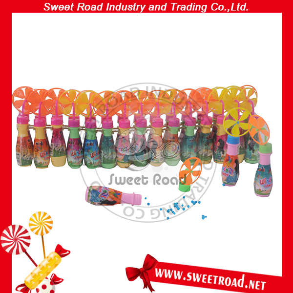 Mini Plastic Windmill Bottle Fan Toy Fruit Candy