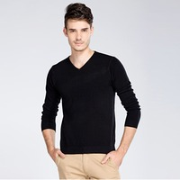 New autumn men's sweater priming pure color fashion warm long sleeve knitter sweater