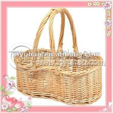Honey Color Peanut Shape Willow Gift Basket With Handle