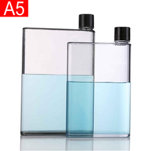 Hot sale BPA free plastic notebook bottle clear acrylic A5 A6 380/450ml water-proof <strong>flat</strong> bottle