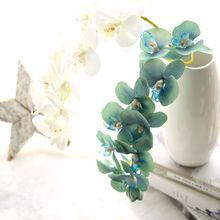 2016 hot sale high quality artificial craft light blue phalaenopsis flower
