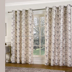 printed faux silk eyelet curtain with 75gsm microfiber lining