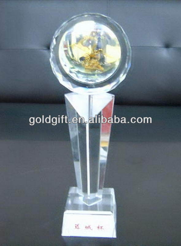 Best quality customize the latest laser design crystal trophy
