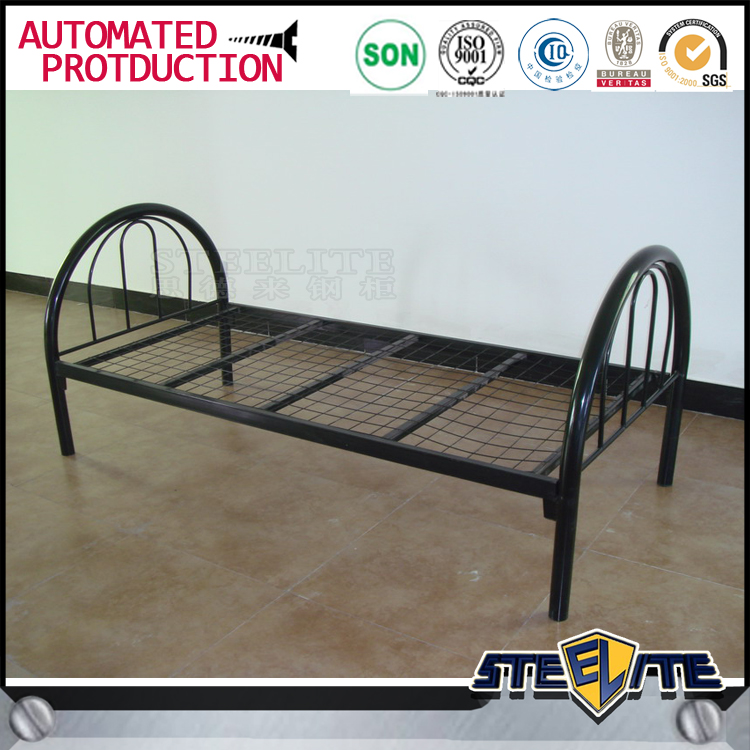 Top quality black hotel metal bed frame steel single bed for Good quality single beds