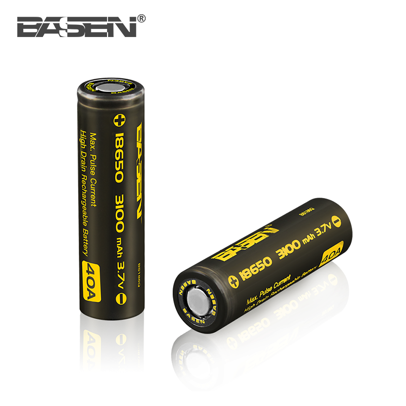 Alibaba best sellers BASEN 18650 high drain battery cell 3100mah 40a for e-cigarette