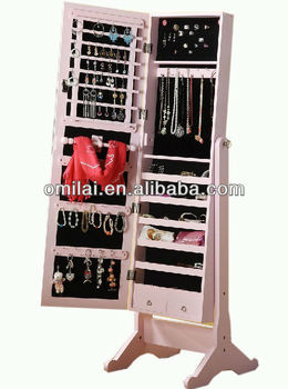 Free standing mirror jewelry armoire View standing mirror armoire