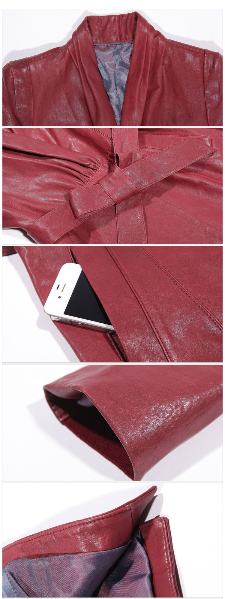 Womens Long Style Girls Red Leather Jacket