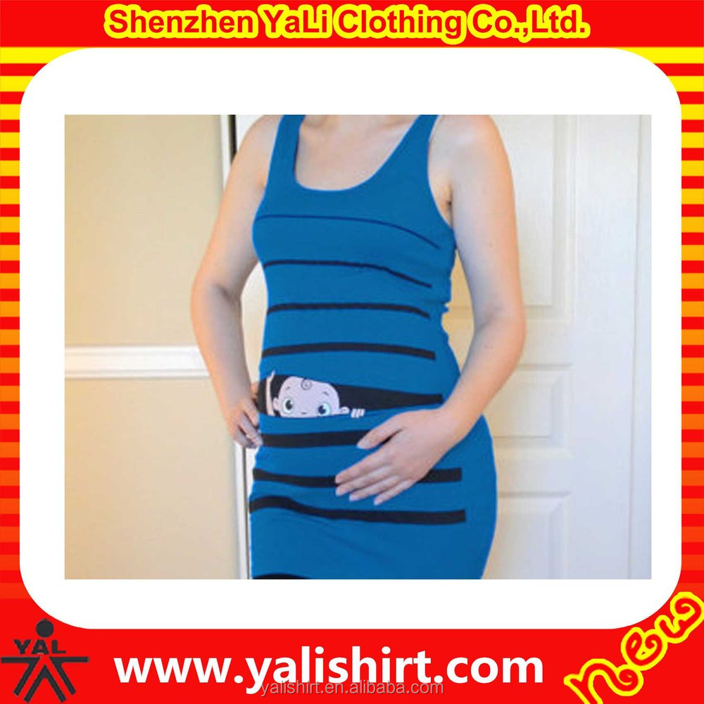 full printed fashionable cute priting comfortable custom made blue sexy pregnant woman maternity clothing wholesale