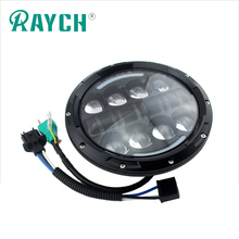 7 Inch 80w Round LED Headlight Assembly For Harley jeep Motorcycles 80W Amber HALO Turn Signal & White DRL