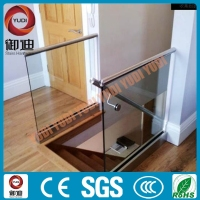 frameless glass aluminum pipe railing handrail for stairs