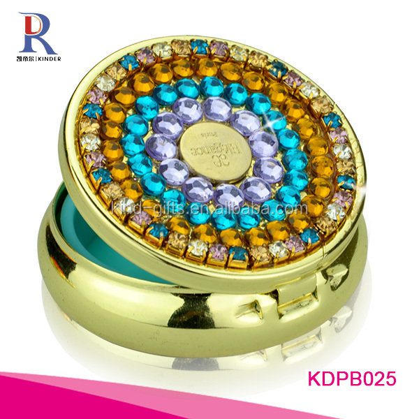 Rhinestone Small emergent waterproof pill case with keyring