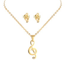 Musical Note Stone With Rhinestone Pendant Necklace Stainless Steel 18K Gold Plated Women Jewelry Set