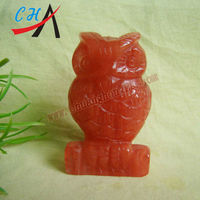 watermelon red owl stone carving for wholesale