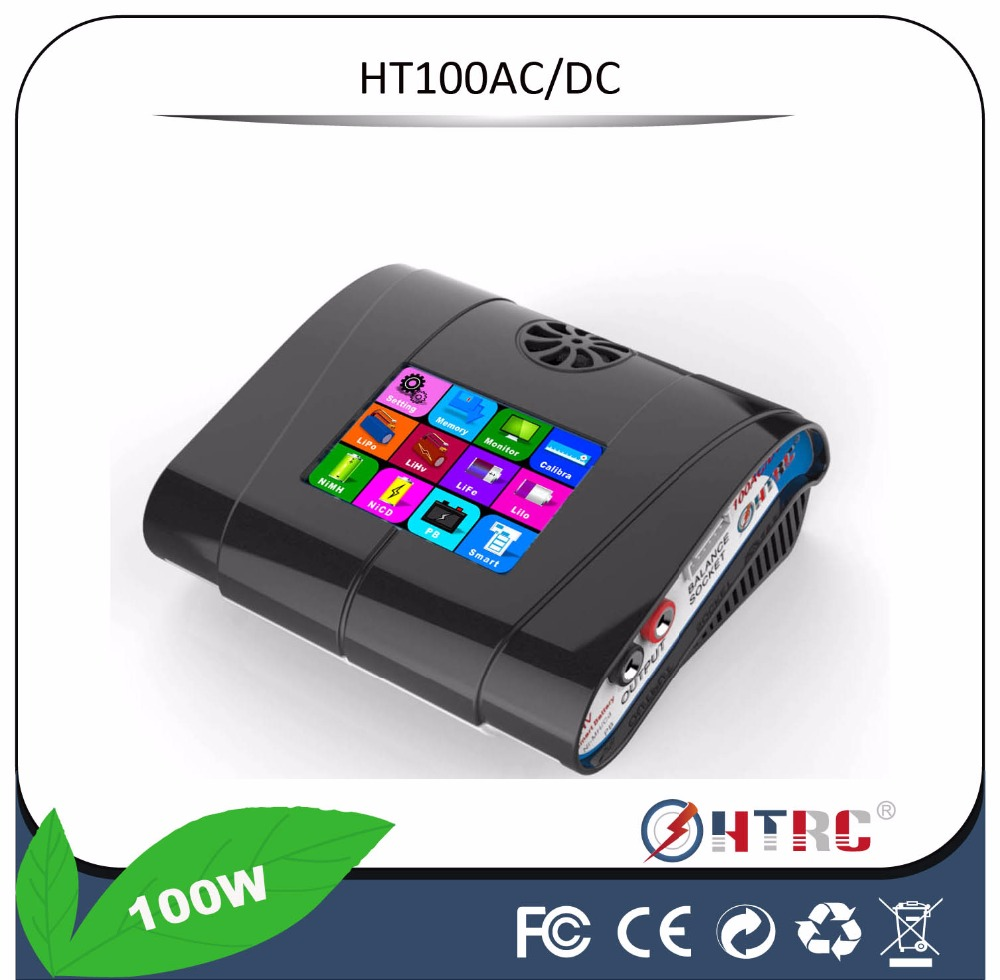 "HTRC HT100 AC/DC 3.2"" Color LCD Touch Screen 100W 10A RC Balance Charger For Lion/LiPo/LiFe/LiHv Battery"