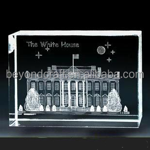 3D engraving White House crystal,block crystal crafts for collection