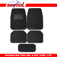 5pc carpet car mat set with vinyl heel pad