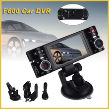 2.7 inch LCD screen car recorder car black box camera 360 degree lens roatation, two cameras car camcorder f600