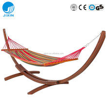 Outdoor Best seller Garden leisure quilted double portable hammock beds with wooden stand