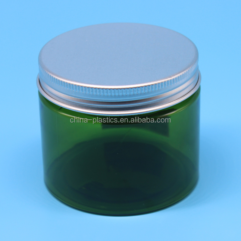 150ml PET cylinder transparent green plastic jars food containers with aluminum lid