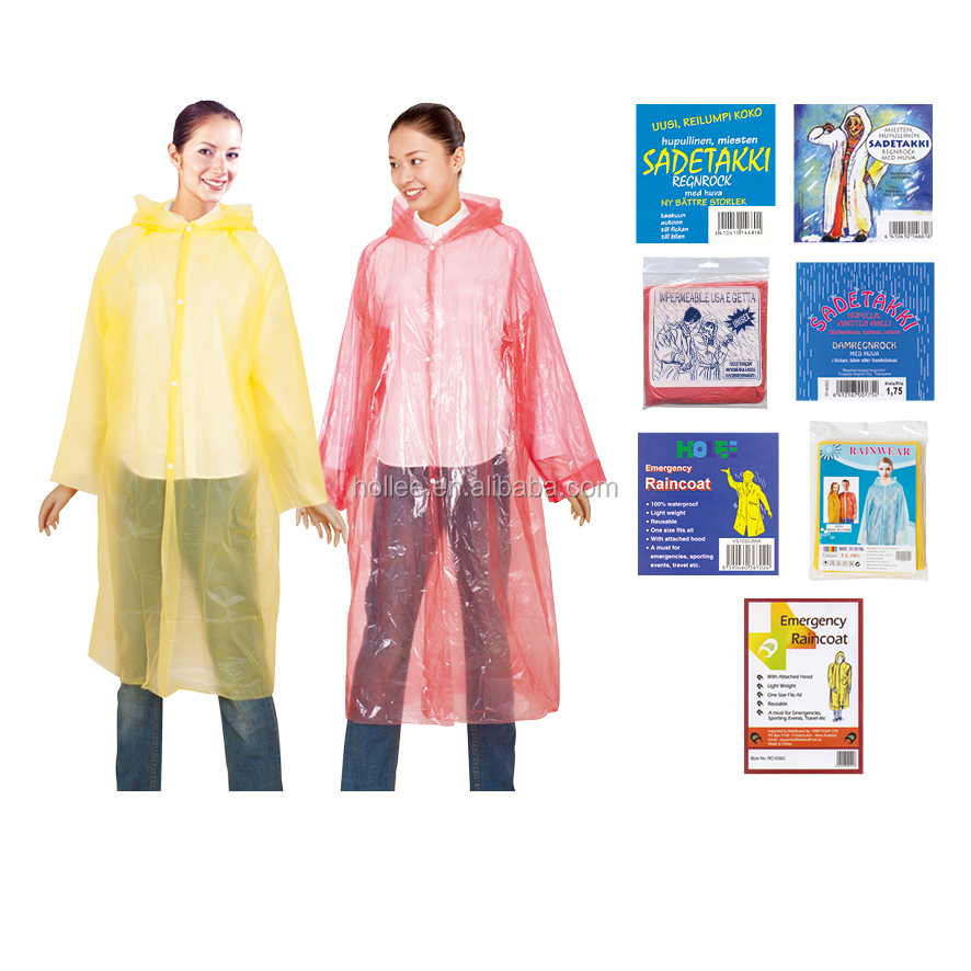 pe disposable all-over printing poncho