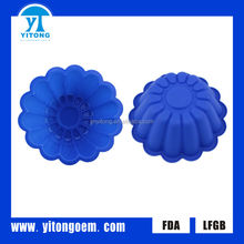 2014 silicone blue flower cake pan mold
