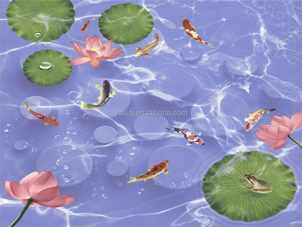 2016 lutos and Koi fish in small pool 600X600 800X800 3d effect ink jet bathroom living room ceramic wall tile
