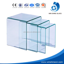 Curved glass curtain wall and tempered glass prices m2 19mm