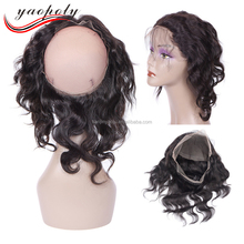 aliexpress supply new style 360 full lace frontal closure with brazilian hair very easy to install