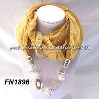 New Arrival scarf with jewelry beads decorations