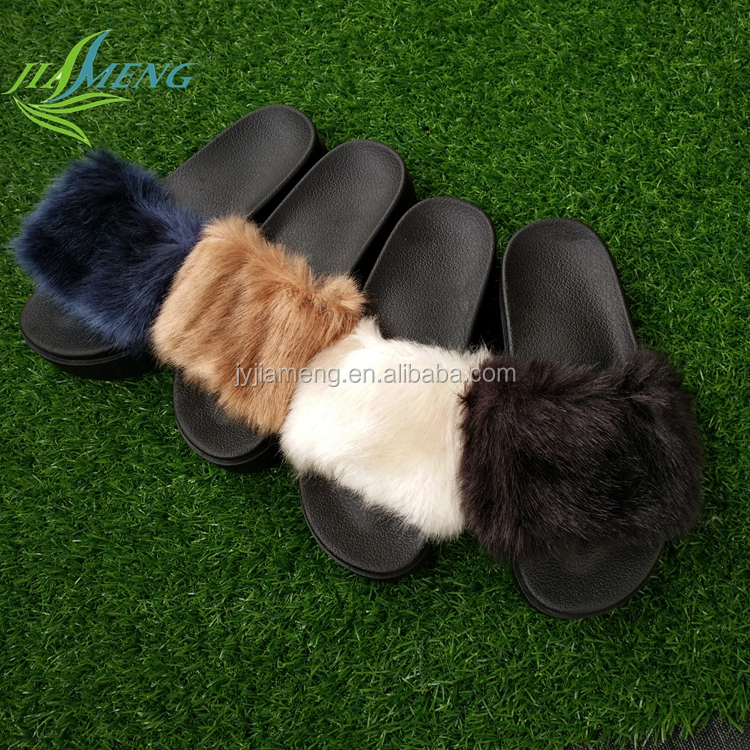 Hot Sell Women Fur Slide Slipper PVC Plastic Women Plush Slipper