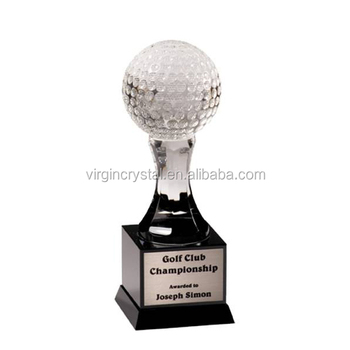 Crystal golf ball with square shape black base for special office paperweight