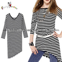Latest Design Stripe Middle Sleeve Ladies Long Casual Tops