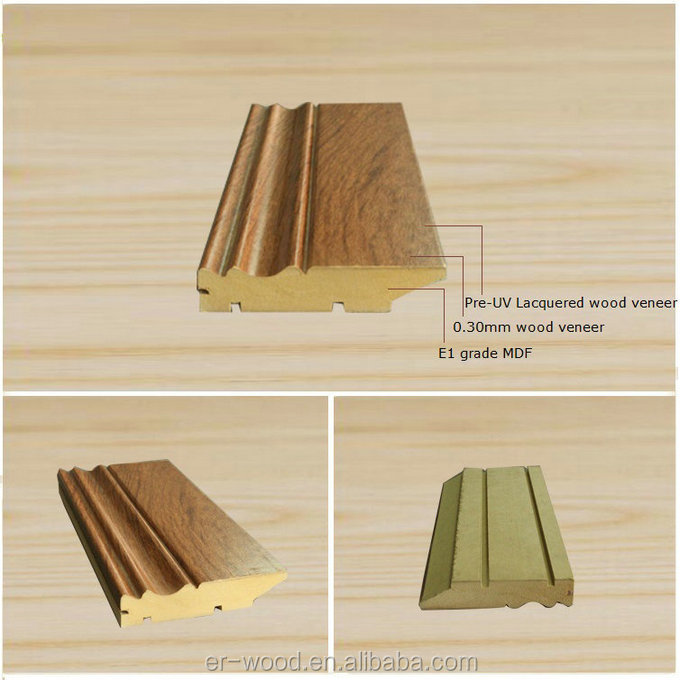 Torus MDF skirting board with wood veneer wrapping