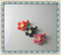 fashion girls kids fabric button flower claw hair clips